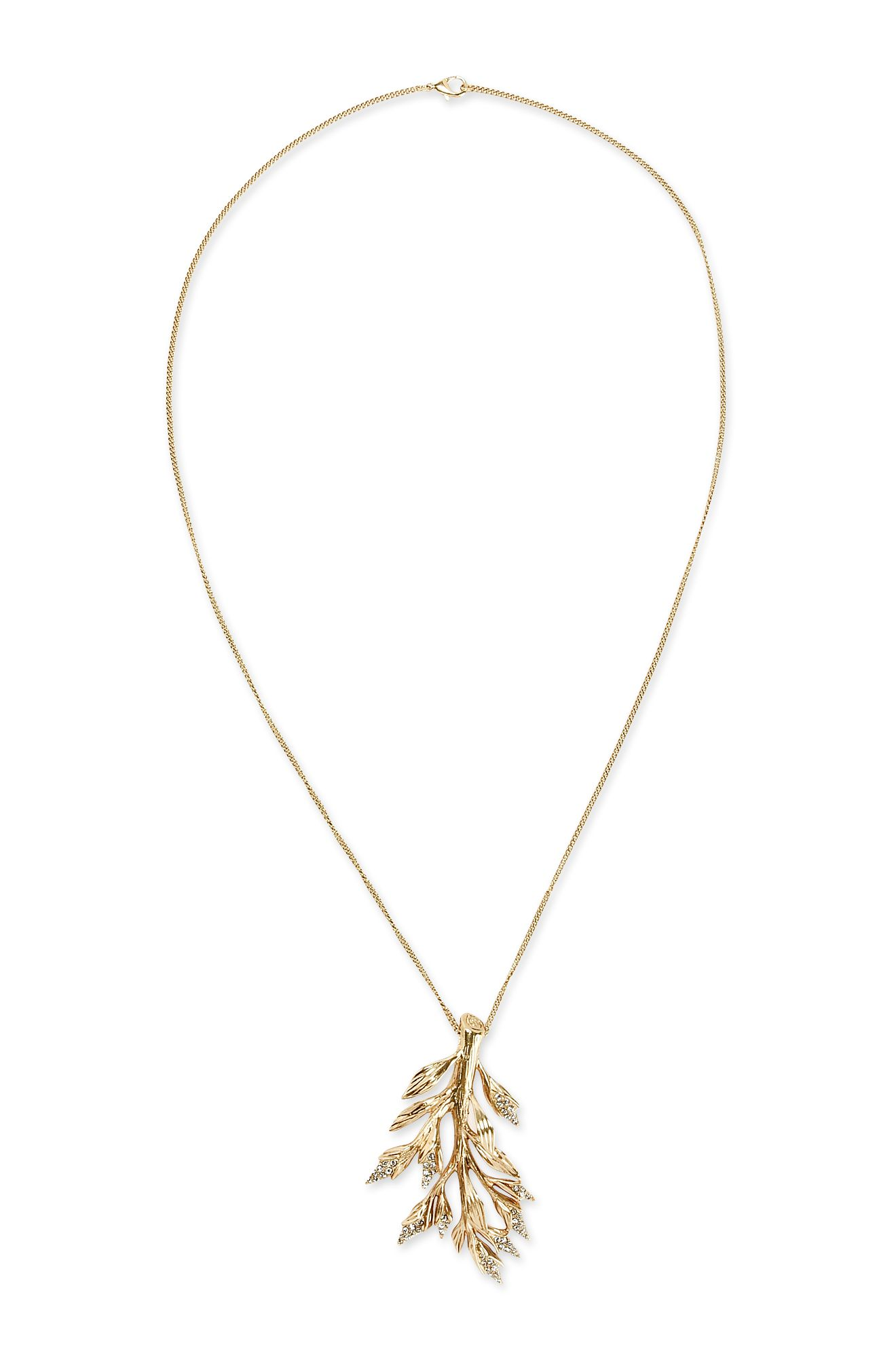 Long foliage necklace.