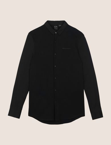 SLIM-FIT KNIT SNAP SHIRT