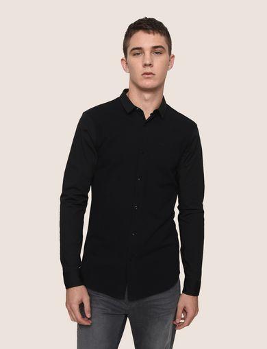 Mixed-media plaid shirt dress black&white peach