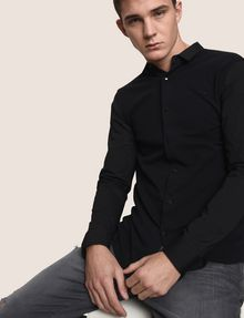ARMANI EXCHANGE SLIM-FIT KNIT SNAP SHIRT Plain Shirt Man a