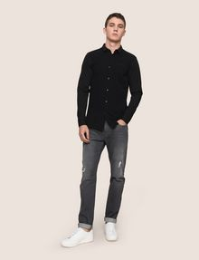 ARMANI EXCHANGE SLIM-FIT KNIT SNAP SHIRT Plain Shirt Man d