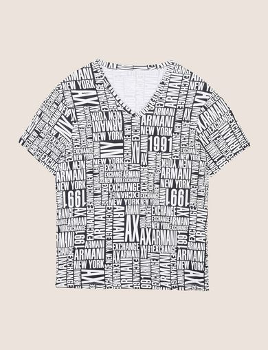 ALLOVER TYPOGRAPHY V-NECK