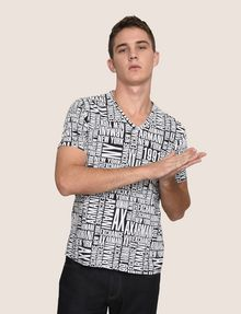 ARMANI EXCHANGE ALLOVER TYPOGRAPHY V-NECK Logo T-shirt Man a