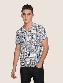 ARMANI EXCHANGE ALLOVER TYPOGRAPHY V-NECK Logo T-shirt Man f