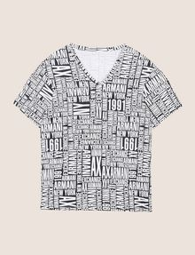 ARMANI EXCHANGE ALLOVER TYPOGRAPHY V-NECK Logo T-shirt Man r