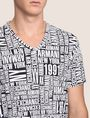 ARMANI EXCHANGE ALLOVER TYPOGRAPHY V-NECK Logo T-shirt Man b