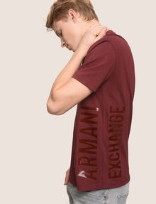 ARMANI EXCHANGE REFLECTIVE VERTICAL LOGO TEE Logo T-shirt Man a