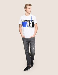 ARMANI EXCHANGE RETRO BEAT COLORBLOCK CREW Logo T-shirt Man d