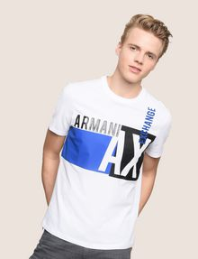 ARMANI EXCHANGE RETRO BEAT COLORBLOCK CREW Logo T-shirt Man f