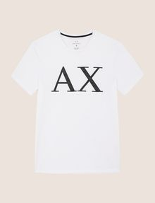 ARMANI EXCHANGE FAUX-LEATHER SERIF LOGO TEE Logo T-shirt Man r