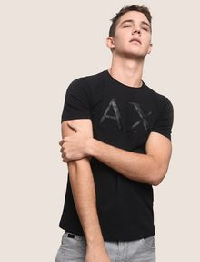 ARMANI EXCHANGE FAUX-LEATHER SERIF LOGO TEE Logo T-shirt Man a