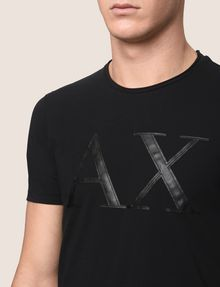 ARMANI EXCHANGE FAUX-LEATHER SERIF LOGO TEE Logo T-shirt Man b