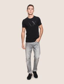 ARMANI EXCHANGE FAUX-LEATHER SERIF LOGO TEE Logo T-shirt Man d