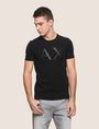 ARMANI EXCHANGE FAUX-LEATHER SERIF LOGO TEE Logo T-shirt Man f