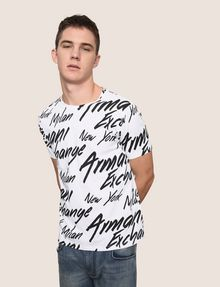ARMANI EXCHANGE THROWBACK SCRIPT LOGO CREW Logo T-shirt Man a