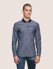 ARMANI EXCHANGE SLIM-FIT DIAMOND JACQUARD SHIRT Plain Shirt [*** pickupInStoreShippingNotGuaranteed_info ***] f