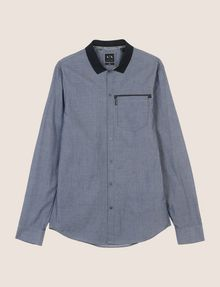 ARMANI EXCHANGE SLIM-FIT DIAMOND JACQUARD SHIRT Plain Shirt [*** pickupInStoreShippingNotGuaranteed_info ***] r