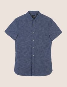 ARMANI EXCHANGE YARN-DYE SLIM-FIT SHIRT Short sleeve shirt [*** pickupInStoreShippingNotGuaranteed_info ***] r