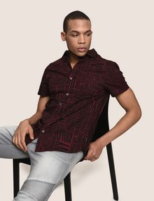 ARMANI EXCHANGE MIXED LOGO SLIM-FIT SHIRT Printed Shirt Man a
