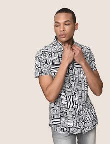ARMANI EXCHANGE MIXED LOGO SLIM-FIT SHIRT Printed Shirt Man a