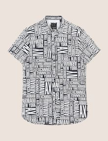 ARMANI EXCHANGE MIXED LOGO SLIM-FIT SHIRT Printed Shirt Man r