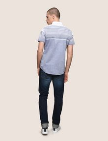 ARMANI EXCHANGE MIXED STRIPE SLIM-FIT SHIRT Short-Sleeved Shirt Man e