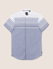 ARMANI EXCHANGE MIXED STRIPE SLIM-FIT SHIRT Short-Sleeved Shirt Man r