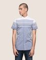ARMANI EXCHANGE MIXED STRIPE SLIM-FIT SHIRT Short-Sleeved Shirt Man f