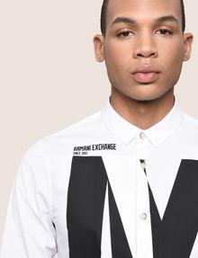 ARMANI EXCHANGE SLIM-FIT STRETCH OVERLAP PLACKET SHIRT Printed Shirt Man b