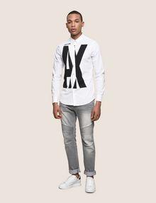 ARMANI EXCHANGE SLIM-FIT STRETCH OVERLAP PLACKET SHIRT Printed Shirt Man d