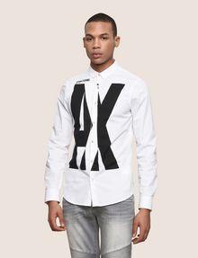 ARMANI EXCHANGE SLIM-FIT STRETCH OVERLAP PLACKET SHIRT Printed Shirt Man f
