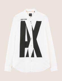 ARMANI EXCHANGE SLIM-FIT STRETCH OVERLAP PLACKET SHIRT Printed Shirt Man r