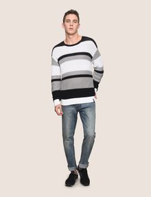 ARMANI EXCHANGE MULTI STRIPE TEXTURED SWEATER Crew Neck Man d
