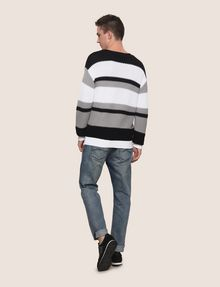 ARMANI EXCHANGE MULTI STRIPE TEXTURED SWEATER Crew Neck Man e