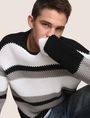 ARMANI EXCHANGE MULTI STRIPE TEXTURED SWEATER Crew Neck Man a
