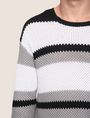 ARMANI EXCHANGE MULTI STRIPE TEXTURED SWEATER Crew Neck Man b