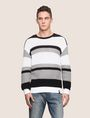 ARMANI EXCHANGE MULTI STRIPE TEXTURED SWEATER Crew Neck Man f