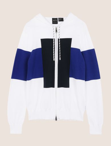COLORBLOCKED ZIP-UP SWEATER HOODIE