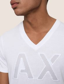 ARMANI EXCHANGE MESH LOGO V-NECK TEE Logo T-shirt Man b