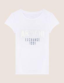 ARMANI EXCHANGE METALLIC ARC LOGO TEE Logo T-shirt Woman r