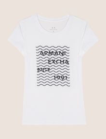 ARMANI EXCHANGE GLITTER WAVE LOGO TEE Logo T-shirt Woman r