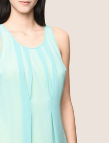 ARMANI EXCHANGE PLEATED SHEER OVERLAY TANK S/L Knit Top Woman b