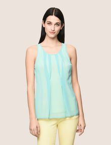 ARMANI EXCHANGE PLEATED SHEER OVERLAY TANK S/L Knit Top Woman f