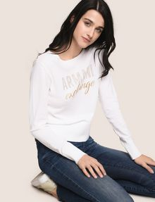 ARMANI EXCHANGE RHINESTONE MARQUEE SWEATER Crew Neck Woman a