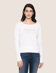 ARMANI EXCHANGE RHINESTONE MARQUEE SWEATER Crew Neck Woman f