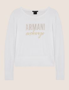 ARMANI EXCHANGE RHINESTONE MARQUEE SWEATER Crew Neck Woman r
