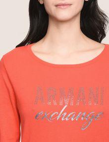 ARMANI EXCHANGE RHINESTONE MARQUEE SWEATER Crew Neck Woman b