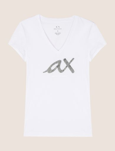 BEADED SCRIPT V-NECK TEE