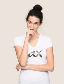 ARMANI EXCHANGE BEADED SCRIPT V-NECK TEE Logo T-shirt Woman a