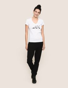 ARMANI EXCHANGE BEADED SCRIPT V-NECK TEE Logo T-shirt Woman d